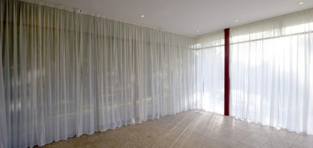 Wood award house, Herefordshire with muslin curtains