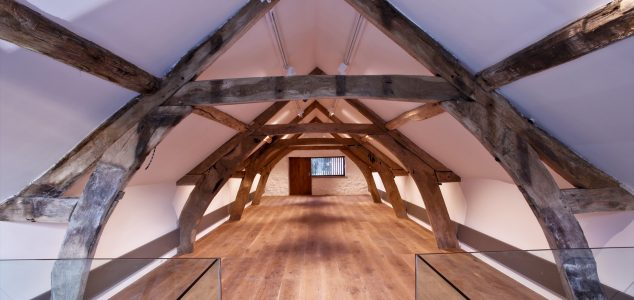 Canwood Gallery timber truss and glass balustrade