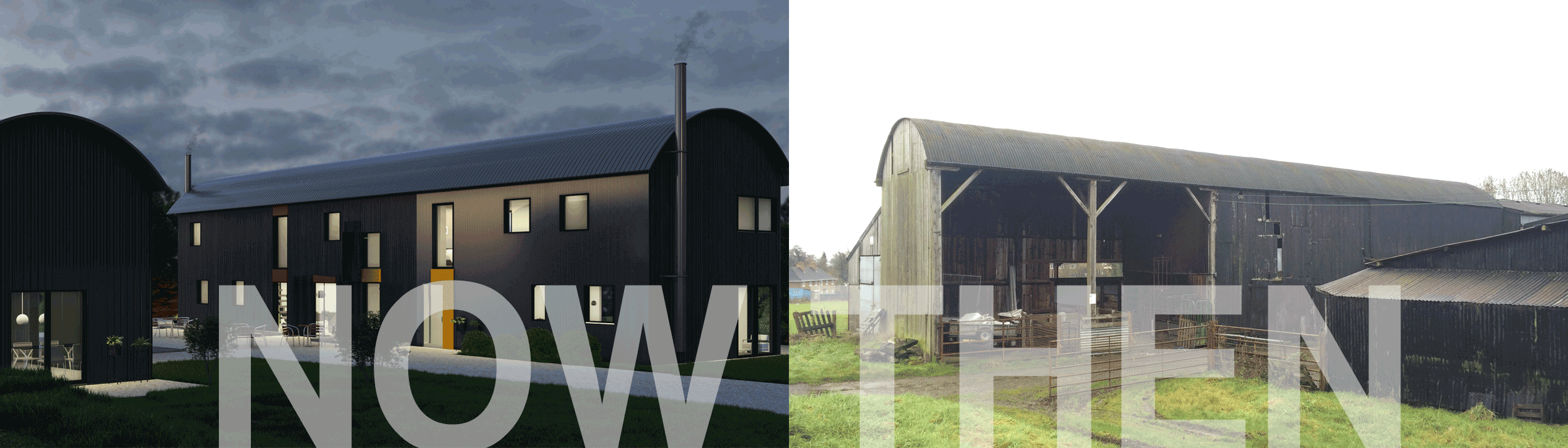 Dutch barn before and after conversion